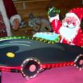 Babbo Natale c/macchina verde - Per esterno