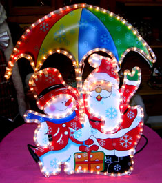 Babbo Natale c/pupazzo di neve - Per esterno