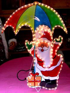 Babbo Natale c/ombrello - Per esterno