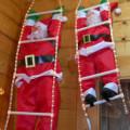Babbo Natale su scala di tubo luminoso cm.90