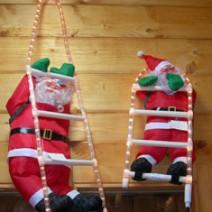 Babbo Natale su scala di tubo luminoso cm.50